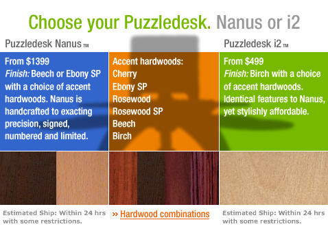 Choose your Puzzledesk. Nanus or i2. Click here to see hardwood combinations